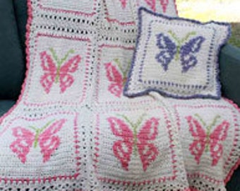 Butterfly Afghan and Pillow Pattern PDF