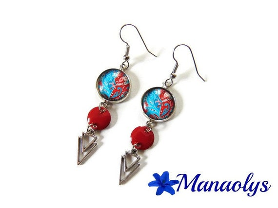 Bohemian earrings, Cabochon glass patterns, and turquoise enamel, silver triangle connectors