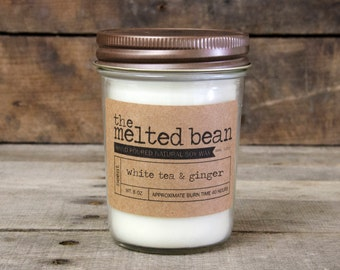 white tea & ginger | 8 oz hand-poured all natural soy wax candle with cotton wick