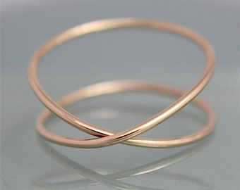 Criss Cross X Double Infinity 14k SOLID Gold Recycled 1mm Thick Band Ring Smooth Shiny Finish Yellow Gold