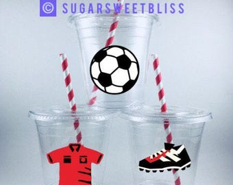 Soccer Party Cups Birthday Favors Athlete Sports Party Personalized Customized Ball Jersey Cleats Favor Cup