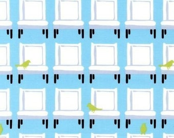 SALE Laurie Wisbrun, Tufted Tweets, Birdies and Chairs Grass Fabric - By the Yard