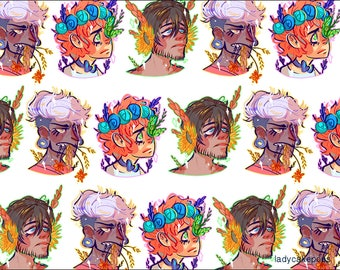 Floral Faces Gloss Print