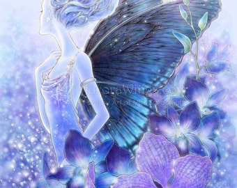 Free US Shipping - Blue Orchid Fairy Fantasy Art - Shades of Blue - 5x7 Signed Fantasy Art Print - by Mitzi Sato-Wiuff