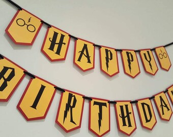harry birthday, party banner, harry party decor, harry birthday party, harry banner, party decorations, birthday banner, wizard, party decor