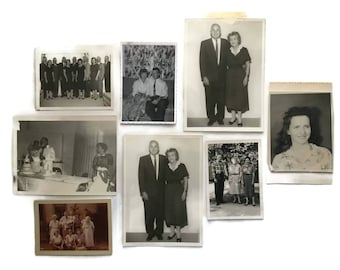 Lot of 8 Vintage Mid Century Photographs Family Pictures (Wedding, Funeral, Kids, Woman)