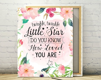 Printable Art 8 x 10 - Twinkle Twinkle Little Star, Instant Print, Poster, frameable Floral Art, Art Print, Printable Poster, Nursery Art