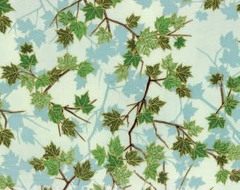 Hoffman - Tree Drive Mist/Gold - M7474-521G - Leaves - Blue - Green - One More Yard