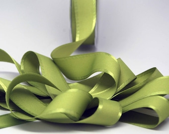 Grosgrain Ribbon With Satin Edge -- 1 Inch Wide -- Lettuce Leaf Green