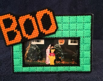 Halloween Plastic Canvas Photo Frame - Holiday - Boo - Handmade - Picture Frame