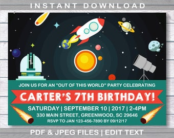 Out of this world invite,  Solar System Invitation, Solar System Birthday, Instant Download, Outer Space Invitation, Solar System,  Planet