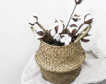 Artificial Dried Cotton Flower Branch with 3 bolls / Fake Cotton Bolls Stem/ Faux Cotton Stalks for Centerpieces and Wreaths