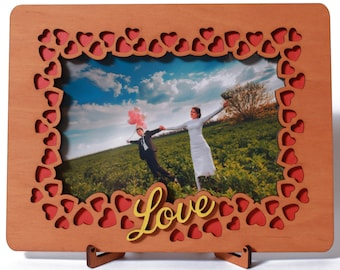 Love Picture Frame 4x6 Inches Photo, Wood Gift for Valentine's Day, Wedding Anniversary Wooden Present for Him Man Husband or Her Women Wife