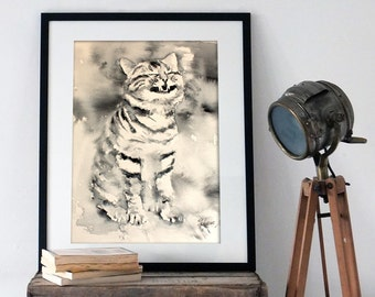 Watercolor Print. Wall art digital print of a black and white cat.