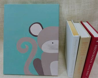 Curious Monkey Baby Kids Room Canvas Original Acrylic Painting 11×14
