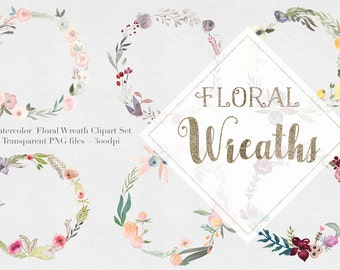 Watercolor Flower Wreaths Clipart Files - High Res Transparent PNG - Hand Painted Digital Scrapbook elements - Instant download