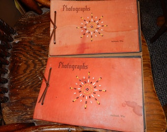 2 vintage hand-beaded, glass beads, leather cover, Ashland Wisconsin Photograph scrap books
