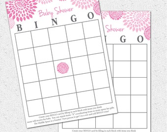 Baby Shower BINGO Game, Printable Girl Hot and Pale Pink and Charcoal Grey Gray Floral, Digital File