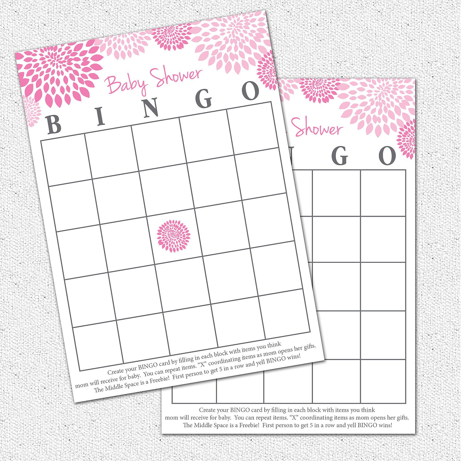 Baby shower bingo game printable girl hot and pale pink and zoom pronofoot35fo Choice Image