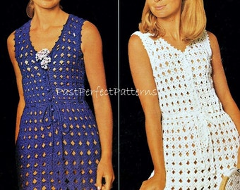 INSTANT DOWNLOAD PDF Vintage Crochet Pattern  Mini or Micro Dress Beach Cover Up   Retro
