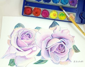 Purple rose, flowers, original painting, watercolor, original art, gift idea for her, home office decoration, bedroom or living room decore.
