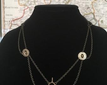Antique Watch Winder & Vintage Button Statement Necklace