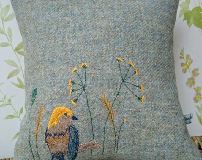 Hand Crafted Harris Tweed little bird cushion cover