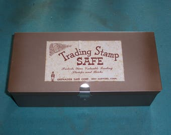 Trading Stamp Safe Including Four Empty Books and Four Full Books of S&H Green Stamps..Collectors Box..Metal Collecting Box...Trading Stamps