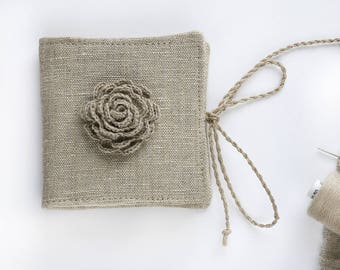 Linen Needle Book with crochet flower | Sewing Needle Case | Travel Sewing Kit | Small Needle Book | Mothers Day Gift