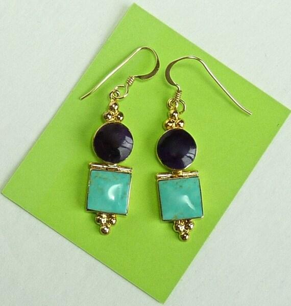 EARRINGS ~ TURQUOISE AMETHYST ~ Sleeping Beauty Turquoise, Amethyst ~ Gold Over Artisan Sterling Silver Earrings ~ Lovely Vintage Earrings