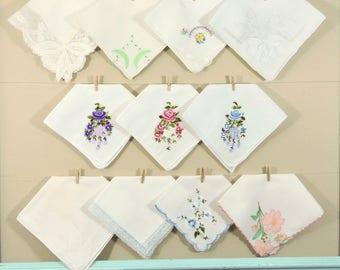 Vintage White Hankie Lot / Flower Hankerchiefs / Lace Landies Hankies