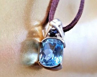 Blue Topaz and Sapphire Gemstone Pendant 925 Sterling Silver 5 Grams