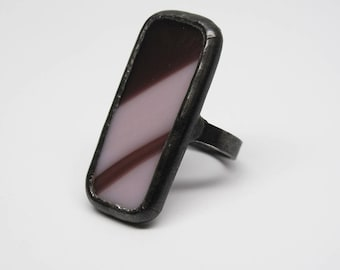 Purple Curves - Sterling Silver Stained Glass Ring - Size 7.5