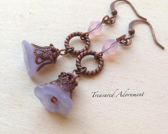 Vintage Style Flower Earrings, Faded Blue Flower abd Rose Water Opal Swarovski Crystal Earrings, Bridesmaid Earrings, Gift for her