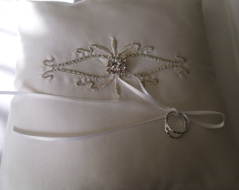 Ivory and Silver Embroidered Little Silk Ring Bearer Bearer Pillow