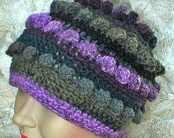 Crochet bobble cloche beanie hat, charcoal gray violet purple green, striped hat, crochet hat, winter hat, toque, womens hat, purple hat