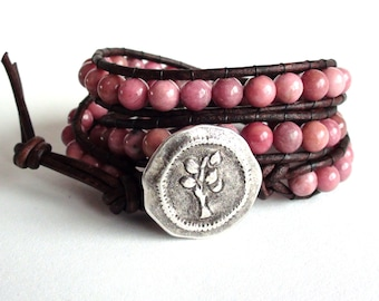 Warm and Earthy Pink Leather Wrap Bracelet (3x)