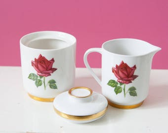 Vintage sugar bowl and milk jug by BAVARIA, Sallie