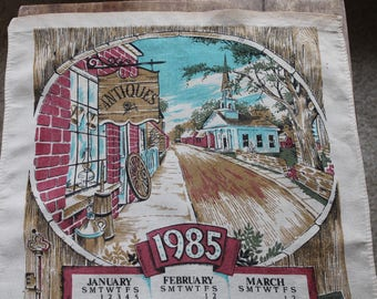 Vintage Cotton Tea Towel, 1985 Calendar, Small Town Antiques Barn, Calendar Tea Towel, 16 x 24