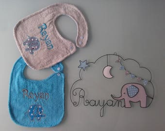 Name in wire with 2 custom bibs - elephant theme