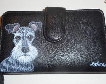 Miniature Schnauzer Dog Custom hand Painted Leather Wallet for Women Vegan