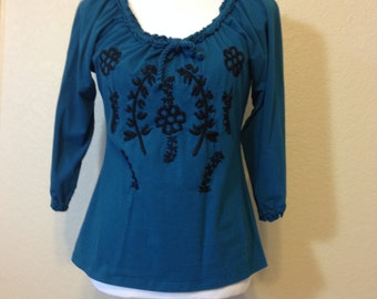 Dark Turquoise Knit Hippie Blouse Black Embroidered Flowers by I.N.C. International Concepts, Medium to Large Previously 24 Dollars ON SALE