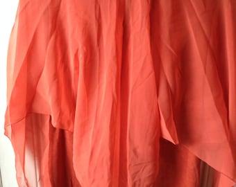 Sale! Plus size vintage 1970s orange gown prom