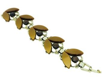 Vintage Thermoplastic Link Bracelet Leaves Berries Pristine Condition Rockabilly Retro