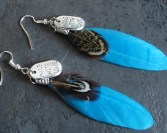 Blue feather earrings & charms