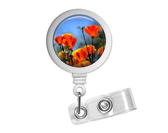 Red Poppy Flowers Photo Glass/Bottle Cap Retractable ID Badge Reel