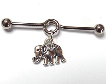 Surgical Steel Industrial Scaffold Bar with Tibetan Silver Elephant Charm