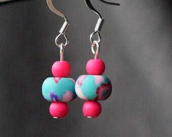 Green and Pink Flower Earrings, Fun Summer Earrings, Dangle Earrings, Gift for Her, Handmade Jewelry