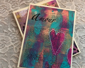Handmade Card Set,  Greeting cards, Birthday cards, Thank you Cards, note cards, mixed media card, OOAK Cards, Mono Printed note cards