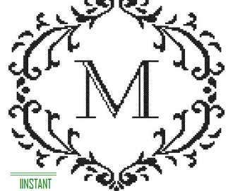 Instant Download Cross Stitch Pattern black Monogram M Initial Alphabet M letter M Gift Home Decor House Warming Wedding Anniversary Gift